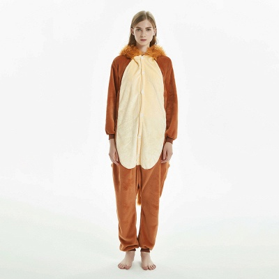 Super Soft Adult Lion Brown Onesies Pajamas for Girls_3