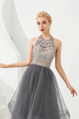 Stylish Floor Length Halter Beaded Tiered Blackless Tulle Prom Dresses_3