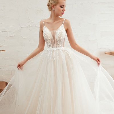 Elegant Spaghetti Straps Lace Up A-line Floor Length Lace Tulle Wedding Dresses_20