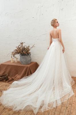 Gorgeous Spaghetti Straps Sweep Train V-neck Lace-Up Lace Wedding Dresses_11