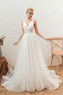 Gorgeous Spaghetti Straps Sweep Train V-neck Lace-Up Lace Wedding Dresses_1