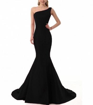 Mermaid One Shoulder Satin Long Affordable Evening Dress_4