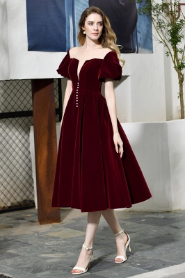 Burgundy Flare Sleeve Deep V Neck Tea Length A Line Prom Dresses | Ruffles Evening Dresses_2