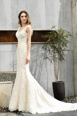Cheap Long Lace Wedding Dresses Backless Floor Length Straps Online_8