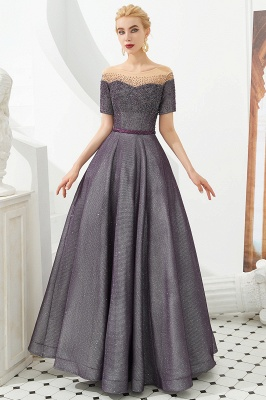 Glamorous Round Neckline Short Sleeves Beaded Belt A-line Floor Length Prom Dresses_3