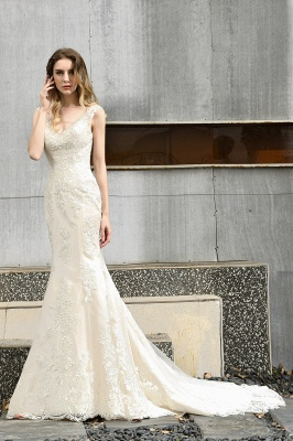 Cheap Long Lace Wedding Dresses Backless Floor Length Straps Online_5