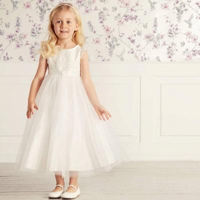 Jewel Cap Sleeves Tea Length Ribbon Belt Lace Tulle Flower Girl Dresses_4