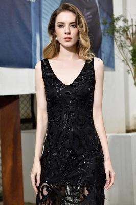 Black Straps V Neck Applique Lace Sequined Sheath Homecoming Dresses_10