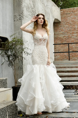 Tulle Lace Sleeveless Sexy Mermaid Wedding Dress_10