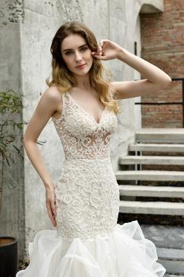 Wholesale Long Mermaid Lace Organza Wedding gowns Ruffles Train_12