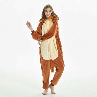 Super Soft Adult Lion Brown Onesies Pajamas for Girls_5