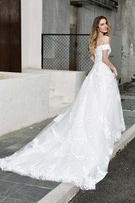 Cheap White Off the Shoulder Lace Beading Mermaid Wedding Gowns_8