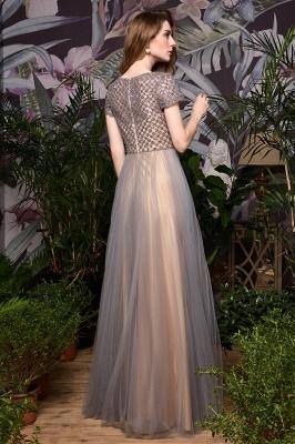 Elegant Short Sleeve Beading Floor Length a line prom dresses  Scaoop cheap graduation dress_11