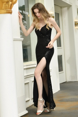 Black Spaghetti Strap V Neck Sequined Front Slit Floor Length Sheath Prom Dresses | Backless Evening Gown_15