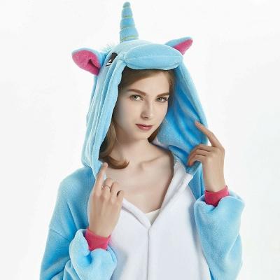 Downy Adult Sky Blue Unicorn Onesies Sleepwear for Girls_14