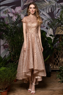Champagne High Neck Short Sleeve Sequined A Line Prom Dress   Tea Length Ruffles Evening Gown_2