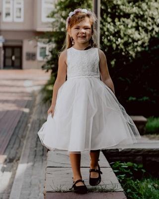 Jewel Sleeveless Ribbon Belt Lace Tulle Long Flower Girl Dresses_2