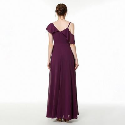 Cold-Shoulder Floor Length Chiffon Flounce Prom Dresses | Long Cheap Evening Dresses_4