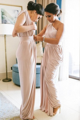 One Shoulder Belted Long Bridesmaid Dresses | Cheap Boho Style Wedding Guest Dresses_1