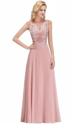 Cheap A-line Jewel Sleeveless Chiffon Tulle Lace Bridesmaid Dress in Stock_5