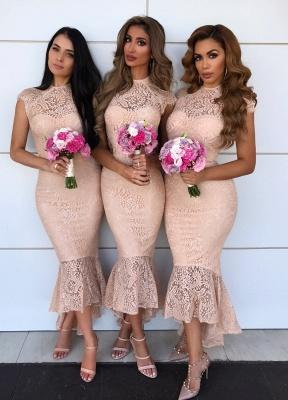 Cap Sleeves Jewel Tea Length Mermaid Lace Bridesmaid Dresses  | Affordable Maid of Honor Dresses_1