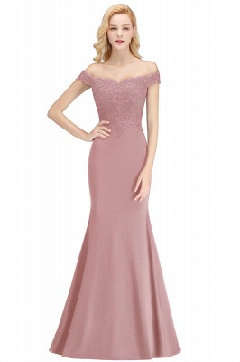 Cheap Mermaid Off-the-shoulder Long Appliques Satin Bridesmaid Dress in Stock_1