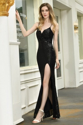 Black Spaghetti Strap V Neck Sequined Front Slit Floor Length Sheath Prom Dresses | Backless Evening Gown_20