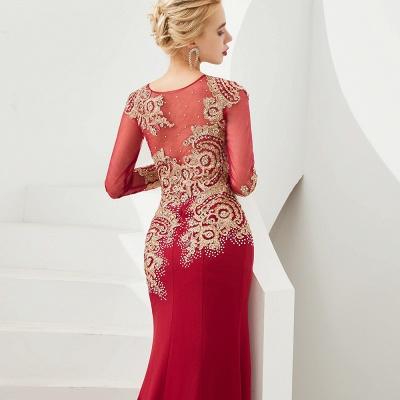 Gorgeous Form-fitting Long Sleeves Floor Length Prom Dresses | Long Beaded Evening Dresses_15