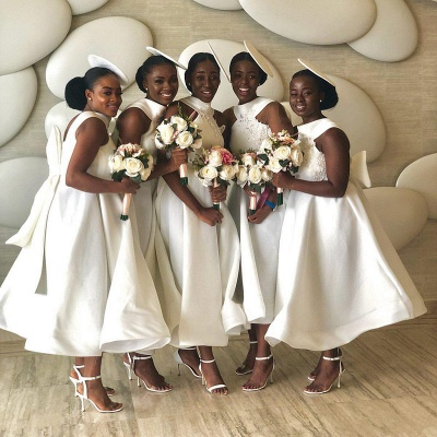 Tea Length A-line Sleeveless Elegant Bridesmaid Dresses | Affordable Maid of Honor Dresses_9