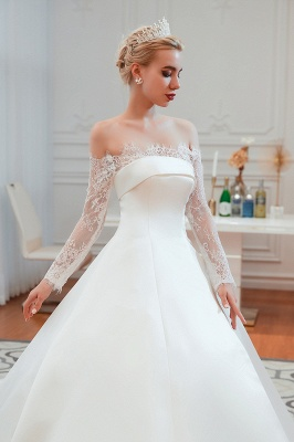Off the Shoulder Long Sleeves Lace Up Floor Length A-line Lace Wedding Dresses_18