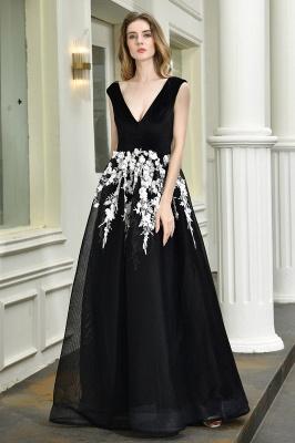 Black Straps Deep V neck A Line Prom Dresses | Applique Lace Corset Back Evening Dresses_8