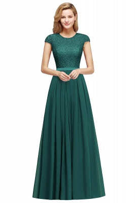 Cap Sleeves Floor Length Jewel Lace Chiffon Bridesmaid Dress | Cheap Prom Dresses_7