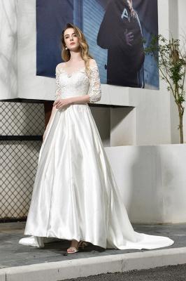 Glamorous 3/4 Sleeves Floor Length Length A-Line Lace Wedding Dresses_8