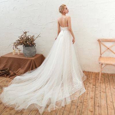 Gorgeous Spaghetti Straps Sweep Train V-neck Lace-Up Lace Wedding Dresses_6