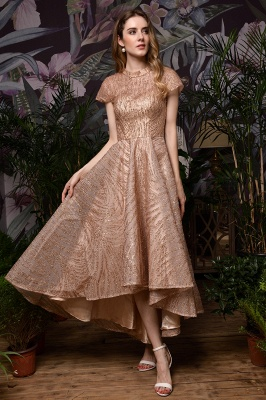 Champagne High Neck Short Sleeve Sequined A Line Prom Dress   Tea Length Ruffles Evening Gown_6