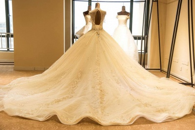Glamorous High Neck Lace-up Tulle Wedding Dress | Haute Couture Bridal Gowns Series_3