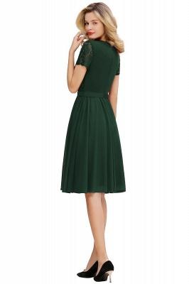 Jewel Kee Length Short Sleeves Lace Bridesmaid Dresses | Burgundy Wedding Gues Dresses_7