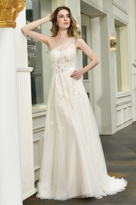 Sexy One Shoulder Lace Tulle Wedding Dresses Open Back_5
