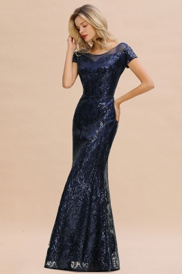 Bateau Short Sleeves Long Sequins Prom Dresses   Floor Length Fitted Evening Dresses_10