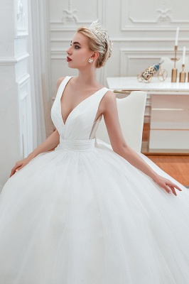 Elegant Floor Length V-neck Straps Belted A-line Tulle Wedding Dresses_8