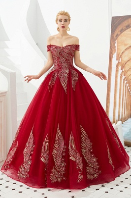 Glamorous Off the Shoulder Sweetheart Applique A-line Floor Length Prom Dresses_3
