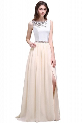Sheath Jewel White Long Evening Dresses With Beads_1