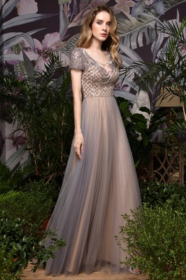 Elegant Short Sleeve Beading Floor Length a line prom dresses  Scaoop cheap graduation dress_2
