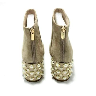 Black Apricot Short Boots Women's Winter Thick Heel_9