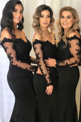 Elegant Off The Shoulder Black Lace Cheap Bridesmaid Dresses with Long Sleeves_1