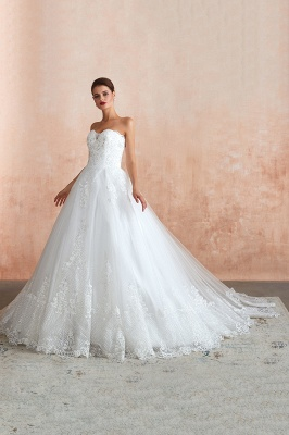 Floor Length Strapless Sweetheart A-line Gorgeous Lace Wedding Dresses_11