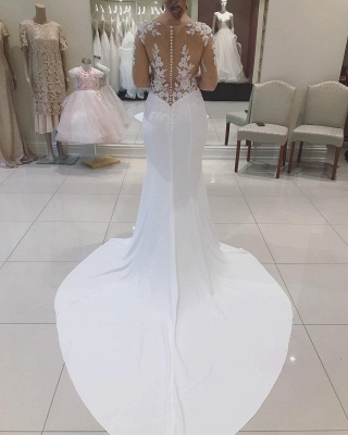 V-neck Sweep Train Fitted Lace Wedding Dresses with Long Sleeves_2