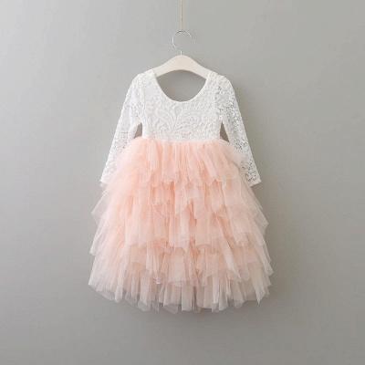 Cute Long Sleeves Jewel Tea Length Lace Tulle Flower Girl Dresses_4