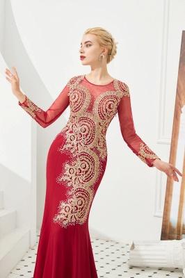 Gorgeous Form-fitting Long Sleeves Floor Length Prom Dresses | Long Beaded Evening Dresses_10