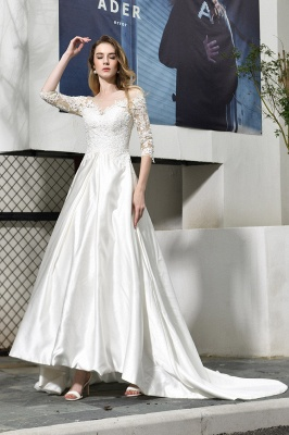 Cheap Lace Half Sleeves V Neck Wedding Gowns Satin with Train_1